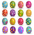 a set easter eggs on white background vector image
