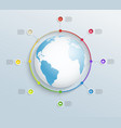 abstract circular timeline with world map vector image