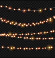 abstract light bulb garland on transparent vector image