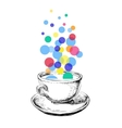 Art Sketch Coffee Cup Bubbles Hand Drawn vector image vector image
