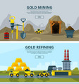 banners set with of mining vector image vector image