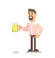 bearded guy drinks beer vector image vector image