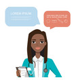 black african american female doctor hospital vector image vector image