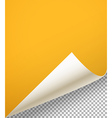 Blank paper sheet with bending corner on vector image vector image