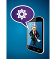 Business man engineer architect phone app concept vector image vector image