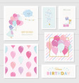 cute birthday cards for girls with glitter vector image vector image