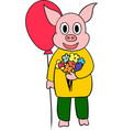 cute little pig cartoon character vector image vector image