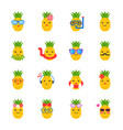 cute pineapple with face in summer beach theme vector image vector image