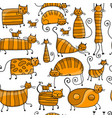 cute striped cats family seamless pattern for vector image vector image