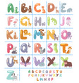 cute zoo alphabet with cartoon animals isolated on vector image vector image