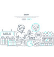 dairy products - line design style web banner vector image