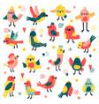 doodle birds cute hand drawn birds vector image vector image