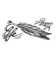 feather bird outline monochrome outline in vector image