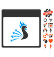 festive rooster calendar page icon with lovely vector image vector image