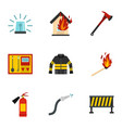 firefighter icons set flat style vector image vector image