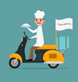funny cartoon chef cook man scooter food vector image vector image