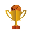 gold trophy and basketball design vector image vector image