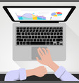 hands on the keyboard vector image