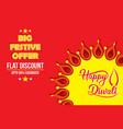 happy diwali festive offer poster design vector image vector image