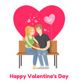 happy valentines day poster merry couple on bench vector image