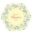 happy womens day flower and herbage wreath vector image vector image