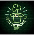 hat with clovers neon label to st patrick vector image vector image