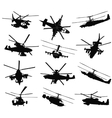 helicopter silhouettes set vector image vector image