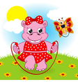 hippo and butterfly jumping rope vector image vector image