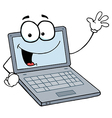 Laptop Cartoon Character Waving A Greeting vector image