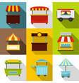 market stall icon set flat style vector image vector image