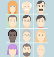 men and women flat avatars set with faces people vector image vector image