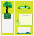 national tree day set flower labels and cards vector image vector image