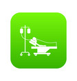 patient in bed on a drip icon digital green vector image vector image