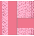 Pink set of three knit textile seamless patterns vector image vector image