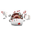 playing cards and poker chips fly casino casino vector image vector image
