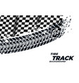 racing flag with tire track print background vector image