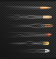 realistic flying bullets with smoke trail vector image vector image