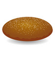 round brown bread with seeds isolated on white vector image vector image