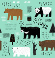 seamless pattern cute bears childish background vector image