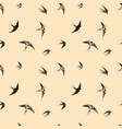 seamless pattern with black flying swallow birds vector image