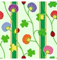 Seamless pattern with green clover shamrock vector image vector image