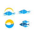 set of fish logo template vector image