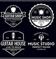 set vintage logo badge emblem for music shop vector image
