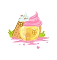 Small Jelly And Waffle House With Whipped Cream vector image vector image
