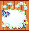 spring background with label and butterfly vector image