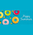 summer pool banner lifesaver and pineapple vector image