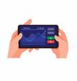 trade exchange app mobile on smartphone vector image vector image