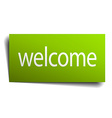 welcome square paper sign isolated on white vector image vector image