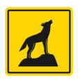 wild animals yellow road sign silhouette of vector image vector image
