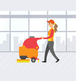 woman cleaning store floor with machine vector image